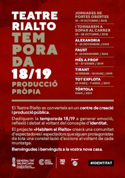 Programació Rialto Temporada 2018-2019